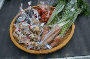 生姜と人参とナスとトマト